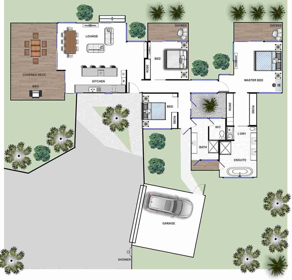 Byron Beach Retreat Beach House Floor Plan